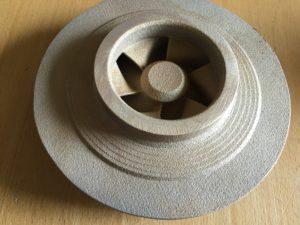 Laufrad aus Rotguss 5 gegossen in 3-D - Sanddruckform